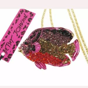 New Betsey Johnson Multi-Color Crystal Cute Fish